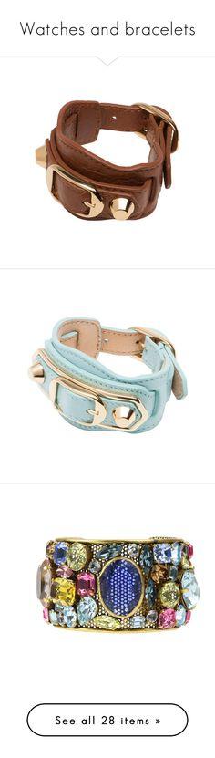 """Watches and bracelets"" by klm62 ❤ liked on Polyvore featuring jewelry, bracelets, bleu maldives, gold bangles, gold jewelry, balenciaga, yellow gold bangle, gold jewellery, polish jewelry and metallic jewelry"