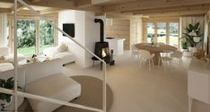 Drewniany minimalistyczny dom   Proj: Elementy   IH - Internity Home Chalet Interior, Wooden House, Life Hacks, House Design, Living Room, Architecture, Table, Furniture, Home Decor