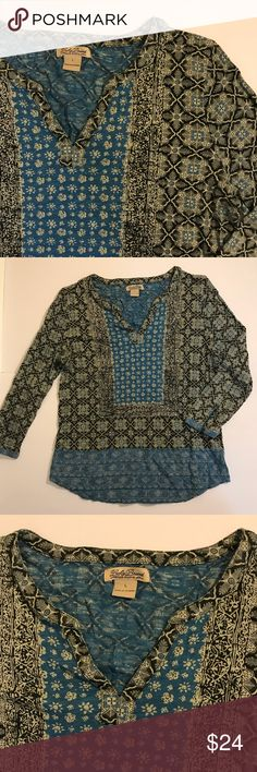 LUCKY BRAND Tribal Printed Blouse Beautiful print Lucky Brand Tops Blouses