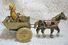 Vintage Tin Litho Horse & Cart  SOLD