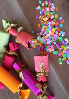 DIY Party Poppers!  (change to black and gold or silver for the New Year)!
