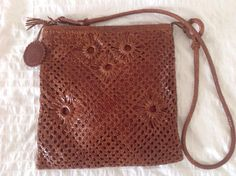 Vintage Woven Leather Messenger Bag by ROMEO GIGLI. INTRECCIATO