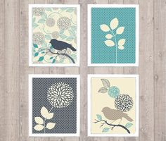 Bird & Flower Digital Printable Wall Art Print by vnprintableart ... For above my bed @DianneVanPutten ?