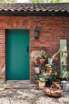 love this deep green paint colour for back door, shed door or cottage door. Click through for more green paint colours you'll love from the new collection by Little Greene Bright Front Doors, Green Front Doors, Painted Front Doors, Front Door Colors, Green Paint Colors, Door Paint Colors, Exterior Paint Colors, Paint Colors For Home, Little Greene Paint Company