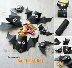 Gear up with craft supplies for kids as Halloween is coming. Help your child to make fun Halloween crafts for kids. Couture Pour Halloween, Bonbon Halloween, Fröhliches Halloween, Halloween Treat Boxes, Halloween Paper Crafts, Manualidades Halloween, Candy Crafts, Halloween Quilts, Holidays Halloween