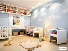 Meus projetos de quarto de bebê sempre levam em conta o conforto, o aspecto lúdico e a segurança do recém-chegado. Neste projeto destaco o azul-claro com nuvens pintadas na parede, que tem aspecto de sonho, poltronas com rodinhas bem práticas e o lúdico em um macio tapete de ovelha! #quartodebebê #camilakleinarquiteta #babyroom #bedroom #decoração #interiordesign #childrendecor #decoraçãoinfantil #quartoinfantil #softcolours #berço