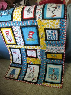 Dr Seuss panel quilting