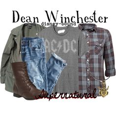 Dean Winchester by disney-bound on Polyvore featuring Topshop, J.Crew, Wet Seal and Old Navy