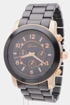 Geneva MK Chrono Style Black Rose Gold Runway Boyfriend 3D Large Watch