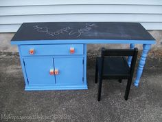 Very cool...  Old cabnet, new top, a couple of stair spindles...  New chalk board top deck for the kids room!