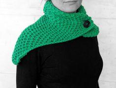 Neck warmer-shawl green by MmeDefargeYarnworks on Etsy