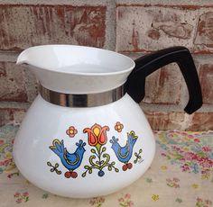 Vintage 1975 Corningware / Corning Country Festival - Bluebird - Friendship Coffee Pot / Carafe on Etsy, $12.95