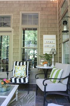 Sleek Lines to Sit and Stay a While Back Porch Space Screened In Porch Furniture, Screened Porch Decorating, Screened Porches, Outdoor Living Rooms, Outdoor Spaces, Outdoor Kitchens, Living Spaces, Faux Fireplace Mantels, Outdoor Fireplaces