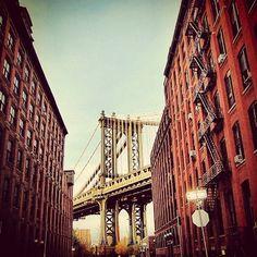 The ever iconic Manhattan bridge silhouette.