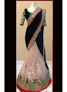 Latest Blue And Off White Velvet And Net Saree