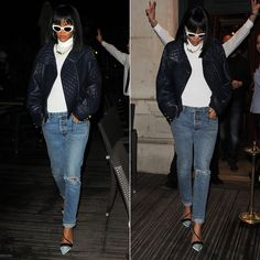 Rihanna wearing Balmain blue leather jacket, ripped jeans, Christian Dior resort 2014 shoes, vintage Versace sunglasses.