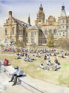 #Watercolor  #Sheffield #England by ARTENDE on Etsy