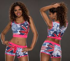 ENSEMBLE MINI SHORT + TOP IMPRIME U.K. SEXY SPORT DÉTENTE YOGA FITNESS T.S 36