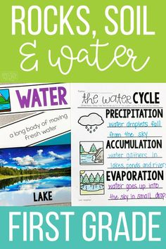 Easy and engaging ideas and science activities for teaching first grade students about Rocks, Soil and Water. Science Lessons, Teaching Science, Teacher Hacks, Teacher Pay Teachers, Organization Station, Teaching First Grade, Water Cycle, Stem Projects, Hands On Learning