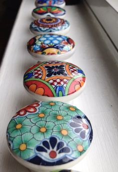 12 decorated decoupaged wooden knobs