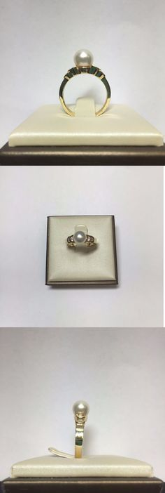 Pearl 11021: Elegant 14K Yellow Gold Pearl Diamond Ring Size 6 -> BUY IT NOW ONLY: $190 on eBay!