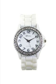 Women's Rhinestone-accented White Large Face Silicone Watch Fashion. $8.25