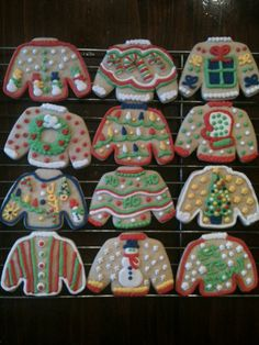 Ugly Christmas Sweater Cookies. These would be good for an ugly Christmas sweater party:)