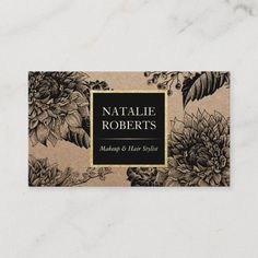 Rustic Kraft Black Floral Makeup Artist Hair Salon Business Card Black Makeup Artist, Salon Business Cards, Create Your Own Card, Spa, Standard Business Card Size, Vintage Floral, Salons, Things To Come, Rustic