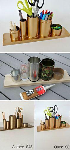 Potes de alumínio e uma tábua de madeira foram pintados com tinta spray e se transformaram num porta-trecos moderninho. / Crédito: Pinterest.                                                                                                                                                                                 Mais