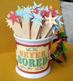 'We're never bored around here'-fill mug or jar with popcycle sticks that have an activity or chore (yesss!) written on them for the kiddles to do. I love that its not all fun stuff, no more complaining!  @K D Eustaquio Cram