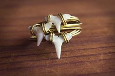 Dainty Shark Tooth Ring, Delicate Stacking Ring, Boho Wire Wrapped Ring