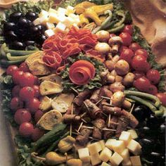 Antipasto/Relish Tray - this may be my favorite looking one yet.  Mixture of meats, cheeses, and traditional relish tray items.  Lovely presentation.