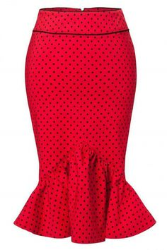 Bunny - Momo pencil skirt Red Black polka dot frill bow Me wants African Attire, African Wear, African Fashion Dresses, African Women, African Dress, Skirt Outfits, Dress Skirt, Jessica Rabbit, Cute Skirts