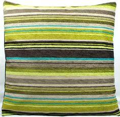 Square Cushion Pillow Cover Designers Guild Genova Velvet Chenille Green Brown | eBay