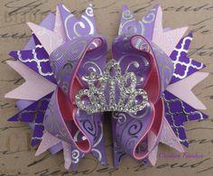 Rapunzel Hair Bow Pink Purple Rhinestone by CreativeFinishesBows