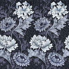 House of Hackney x William Morris, Chrysanthemum Wallpaper Chambray – Dust - Shop