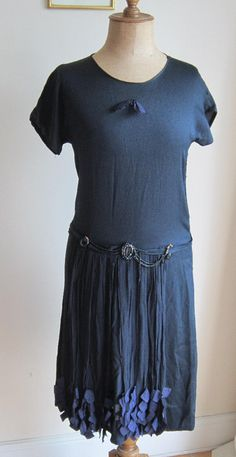 1920s dress genuine navy silk chiffon flapper dress with beading fly away panels Bust 38 https://www.etsy.com/uk/listing/158190495/antique-20s-dress-genuine-navy-silk?ref=shop_home_active_11