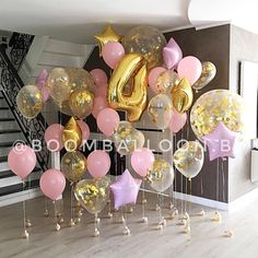 Pink and golden balloons, loose not arched. Barbie Birthday, Unicorn Birthday Parties, Birthday Balloons, Unicorn Party, 35th Birthday, Balloon Decorations, Birthday Party Decorations, Fete Emma, Helium Balloons