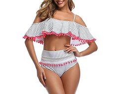 XINDEEK Women Two Pieces Swimsuit Halter Neck Boho Floral Print Tankini Set Swimwear Open Back Bating Dress Swimsuit