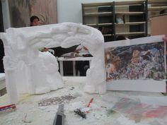 Pesebre en Icopor - Gruta entrada ciudad. Diorama Viaje de los reyes magos 1 Diorama, Christmas Decorations, Christmas Ideas, Reyes, Outdoor Decor, Party, Painting, Home Decor, Nativity Sets