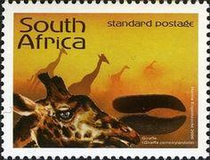 Stamp: Giraffe (Giraffa camelopardalis) (South Africa) (Animal Tracks - Stories in the Sand) Mi:ZA 1716,Sn:ZA 1364f