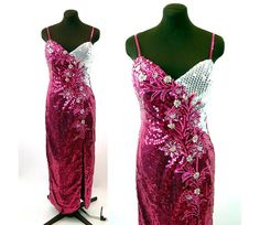 1980s sequin gown Alyce Designs pink white silver by vintagerunway