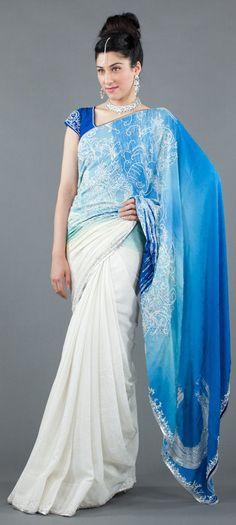 Blue and White Moon Jacquard Saree by Satya Paul