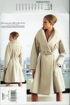 Donna Karan Vogue V1321 Princess Seam Wrap Coat Pattern Womens Sewing Pattern Capelet Shawl Portrait Collar Swing Clutch Evening Coat UNCUT