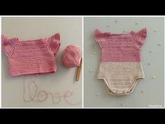 Crochet Bib, Finger Crochet, Kawaii Crochet, Newborn Crochet, Knitted Baby Cardigan, Knitted Baby Clothes, Onesie Pattern, Baby Born Clothes, Hippie Baby