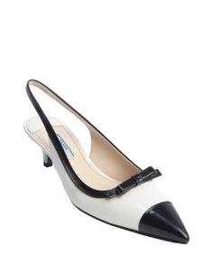 Pradawhite and black leather pointed toe kitten heel slingbacks