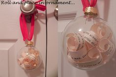 Cut a wedding invitation into trips, stuff into a glass craft ornament and give to the couple for their fist Christmas <3