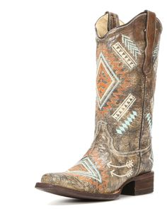 Create a gorgeous cowgirl ensemble by adorning these women's�s Western boots! Handcrafted from distressed leather for that appealing worn-in look, these square-toe boots showcase southwestern embroidery details on the shafts & feet. They also feature pull straps to help for easier dressing, cushioned insoles and leather linings provide much comfort, and leather outsoles make for confident strides.