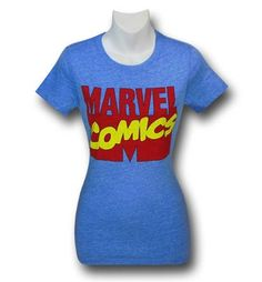 Check out the 60% cotton 40% polyester Marvel Comics Logo on Blue Women's T-Shirt! A soft, heather blue t-shirt with the old school logo this t-shirt is simple and straight to the point. You don't want to argue on who wins in a fight over Thor or the Hulk. You didn't want to pick a side during Civil Wars. You just love everything Marvel related - EVERYTHING. You even have that Squirrel Girl tattoo! Made with the ladies who enjoy the form fitting style, the Marvel Comics Logo on Blue Women's…