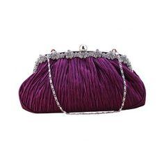Ladies Satin Rhinestone Evening Wedding Party Party Wedding Handbag Clutch Purse Bag Purple